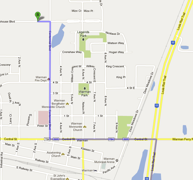 Directions to Legends Centre, Warman